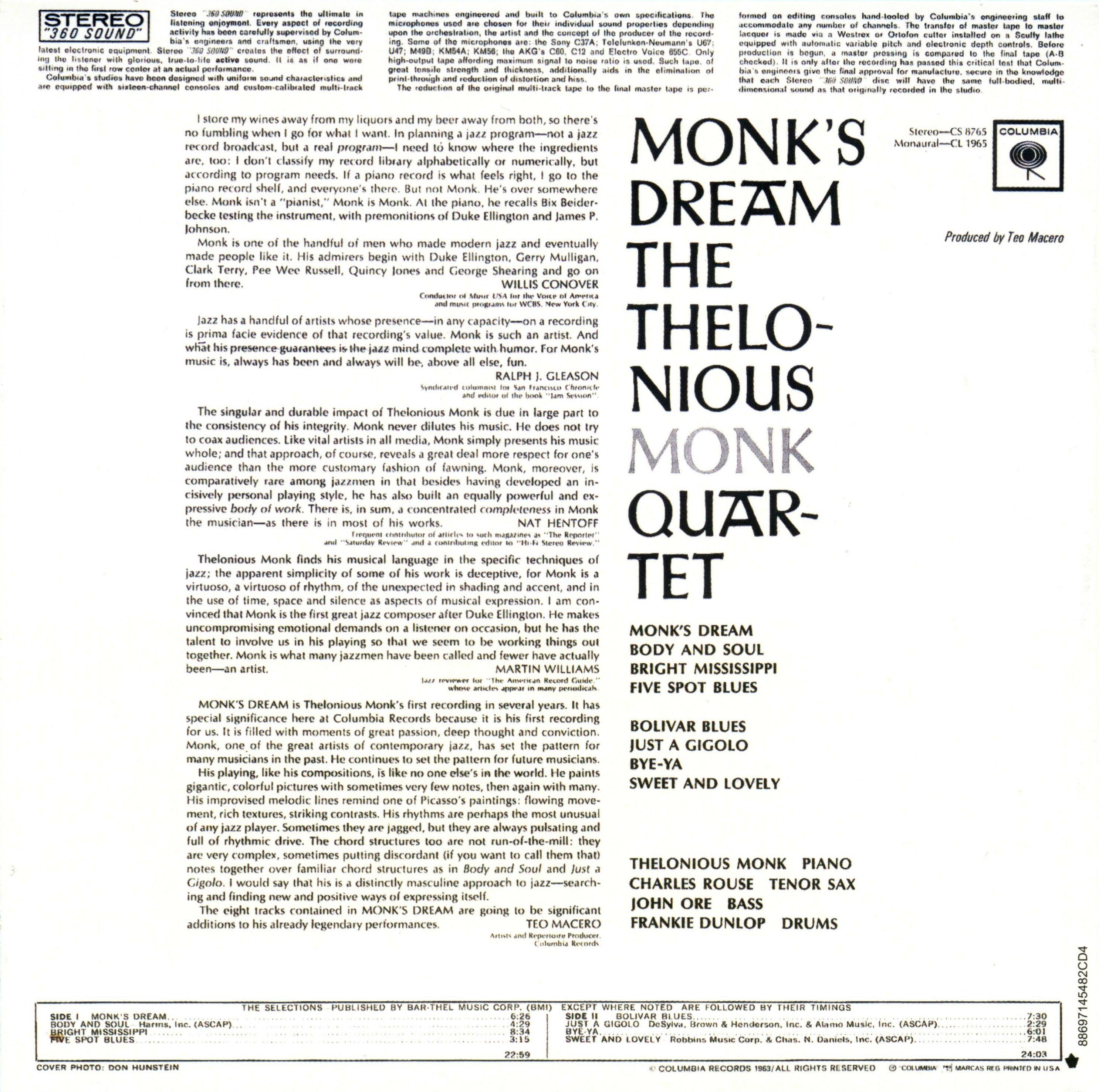 an analysis of the album monks dream by thelonious monk A lost 1963 live recording of thelonious monk has been recovered from a skip  bin, and  you can pre-order the album here  monk's dream.